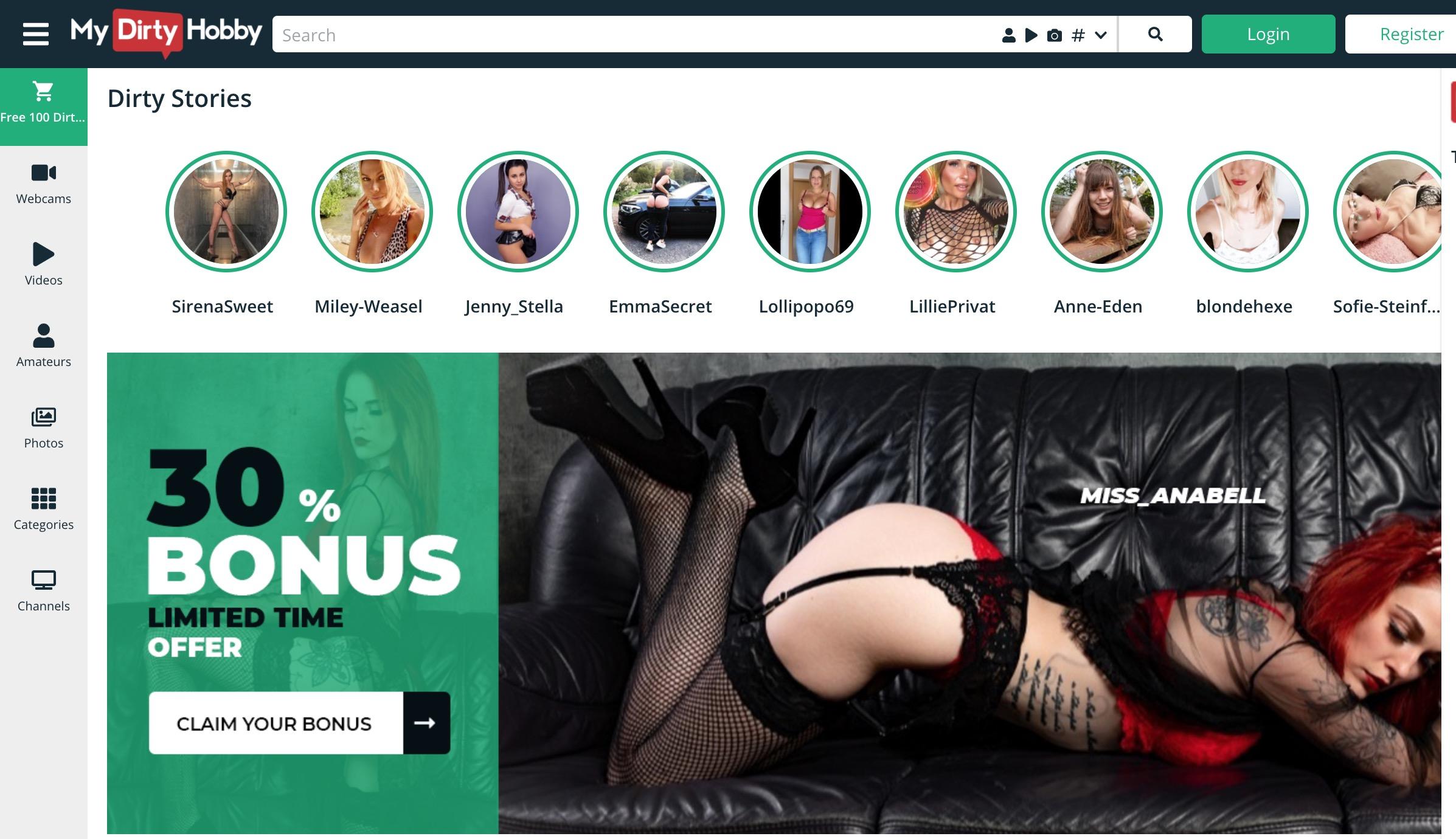 MyDirtyHobby main page