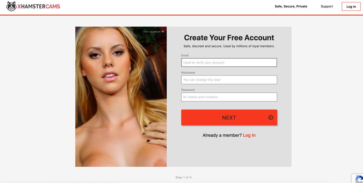 XHamsterCams create account
