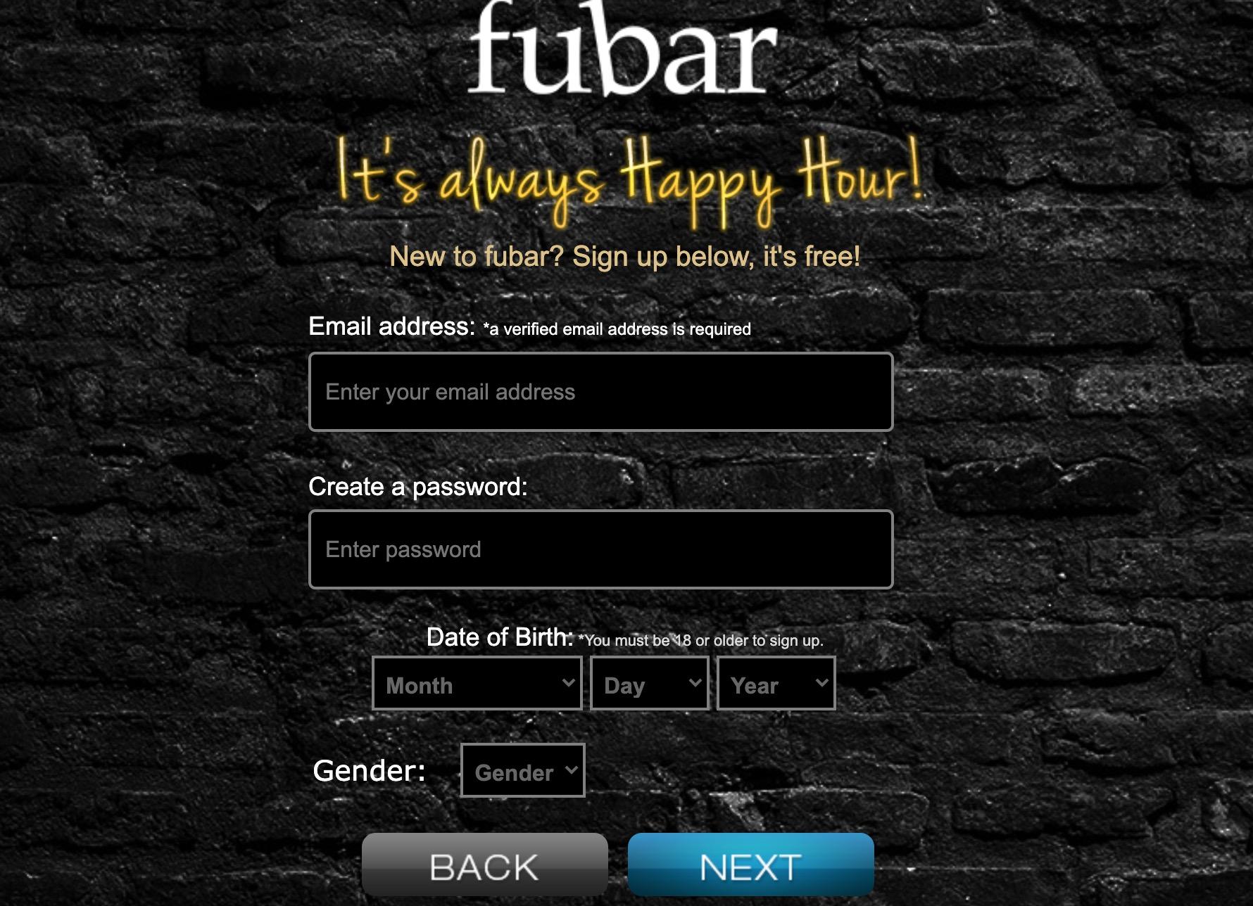 Fubar create account